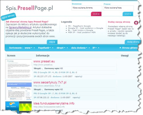 Spis Presell Page