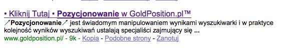Opis i tytuł GoldPosition.pl po 25 maja 2008