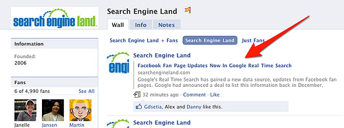 zrzut ekranowy fanpejdża Search Engine Land