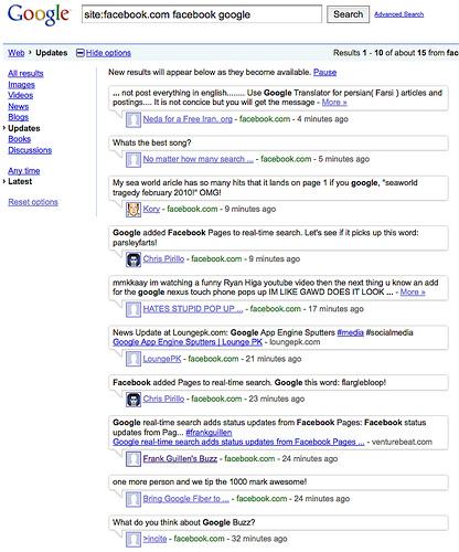 wyniki wyszukiwania real-time na frazę [site:facebook.com facebook google]. Rezultat: brak naszego artykułu
