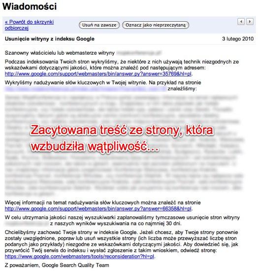 Ban Usunięcie witryny z indeksu Google