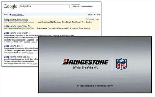 stopklatka ze spotu Bridgestone + SERPy dla zapytania [bridgestone]. Adres w SERPach jest inny niż reklamowany w TV