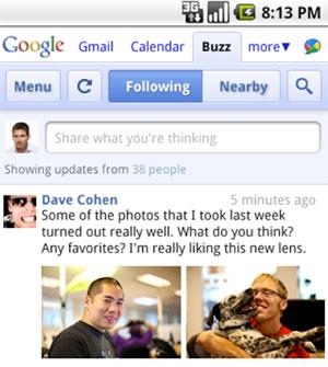 screenshot interfejsu Google Buzz wwersji mobilnej