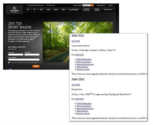 porównanie widoku strony Acury: co widzą wyszukiwarki, co widzi internauta