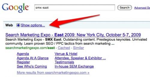 zrzut: przycisk rozwijający opcje wyszukiwania