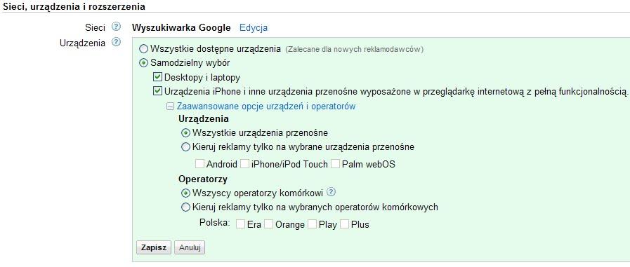 AdWords - opcje kierowania na urządzenia mobilne