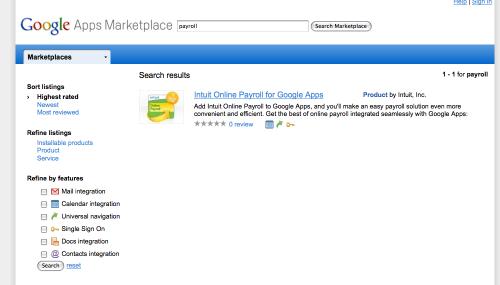 lista wyników wyszukiwania w Google Marketplace