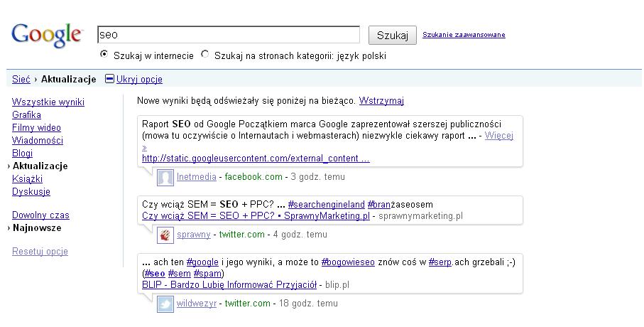Jak wyglądają SERP-y dla wyników real-time search