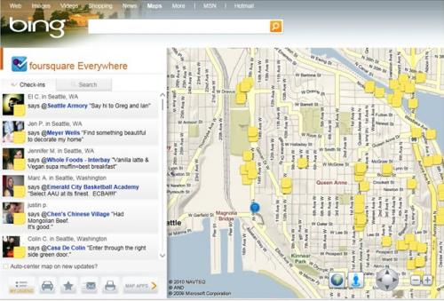 mapy Bing - integracja z Foursquare