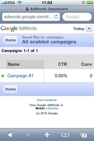 mobilny panel AdWords - aktywne kampanie