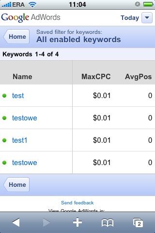mobilny panel AdWords - lista słów kluczowych