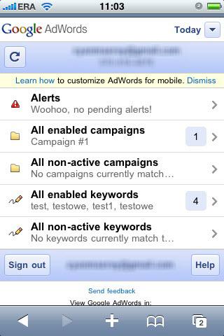 mobilny panel AdWords - widok główny