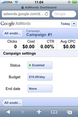 mobilny panel AdWords - widok kampanii
