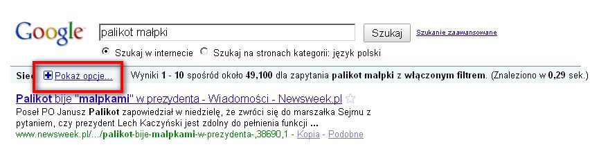 Gdzie znaleźć link [pokaż opcje] w SERP-ach Google