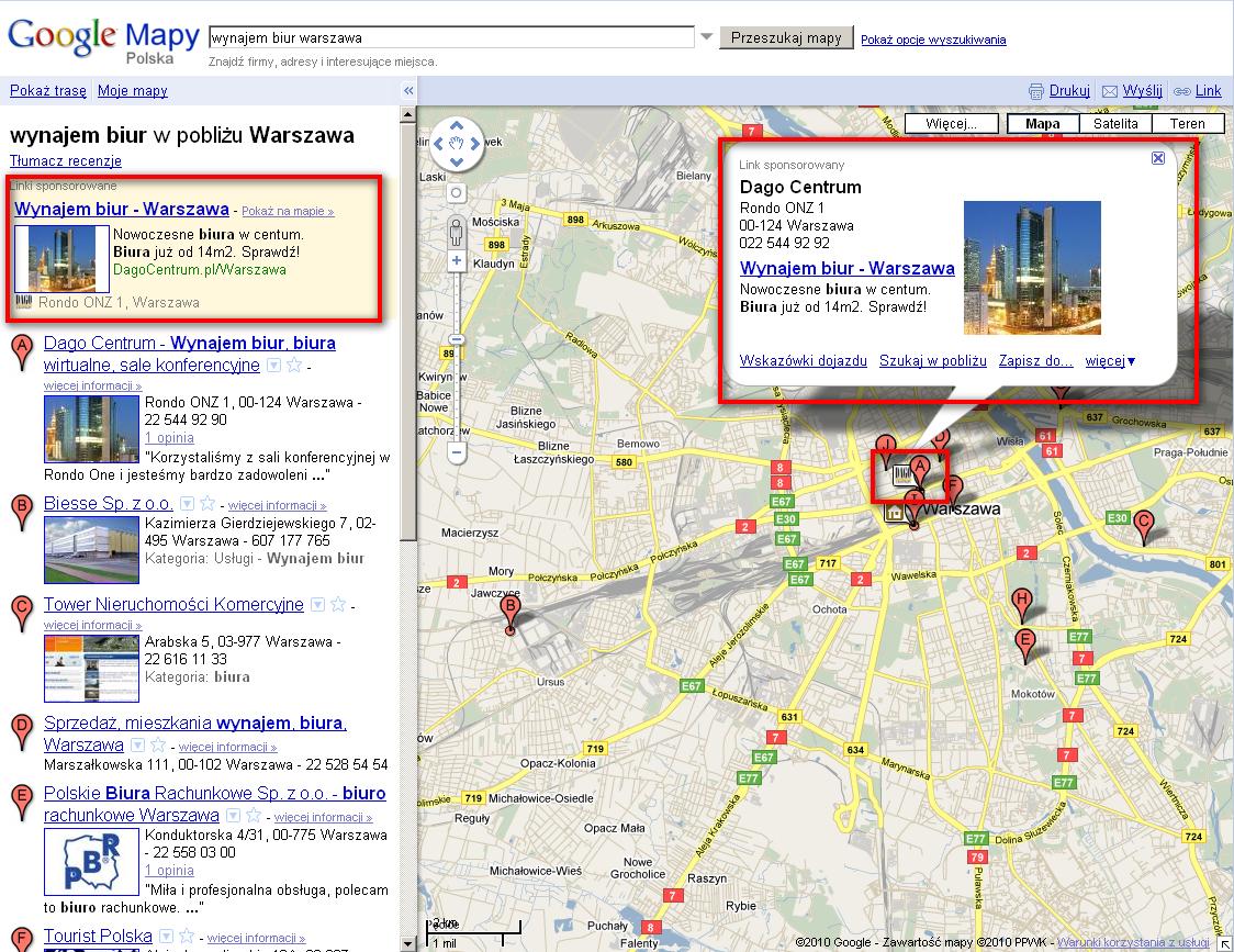 rozszerzone AdWords w Google Maps