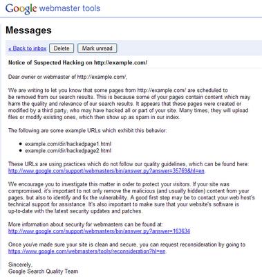 screen przykładowego powiadomienia w Narzędziach dla Webmasterów