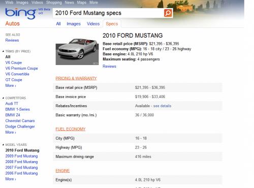 zapytanie samochodowe Bing - stare