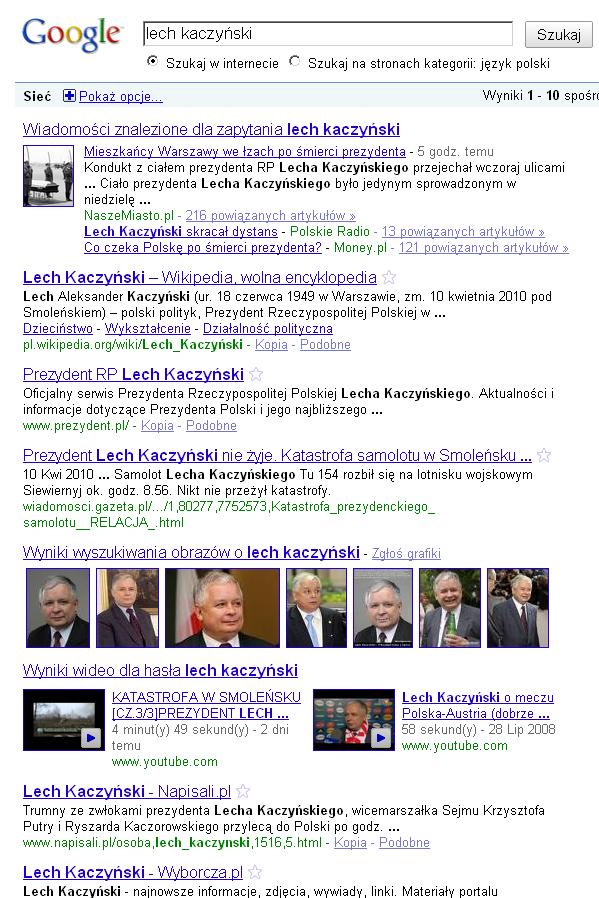 SERPy na frazę Lech Kaczyński