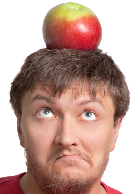 Funny guy with an apple on his head