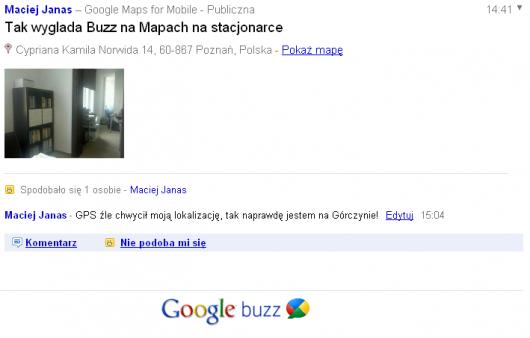 Google Buzz na mapach stacjonarnych - widok pojedynczego buzza