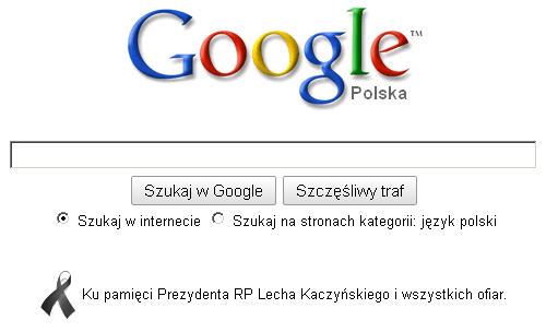Google czarna wstążka żałoba