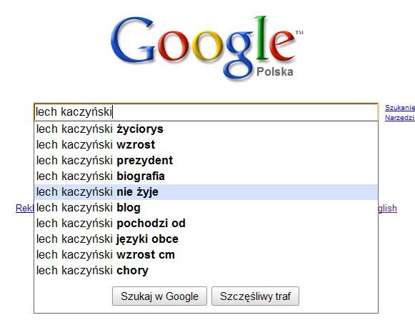 Google Suggest - o co pytają Polacy w kontekście Lecha Kaczyńskiego