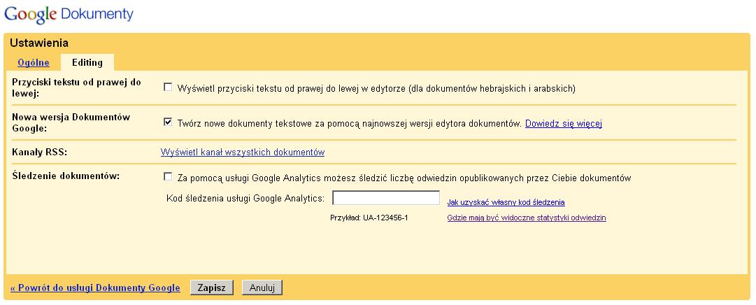 jak włączyć nowe Google Docs