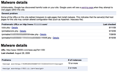powiadamianie o złośliwym oprogramowaniu w Narzędziach dla Webmasterów