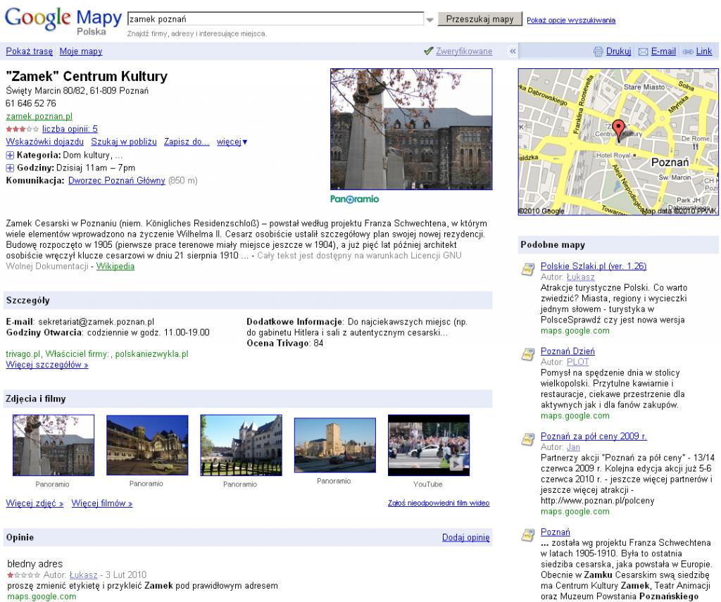 Miejsca Google - dawna Strona miejsca