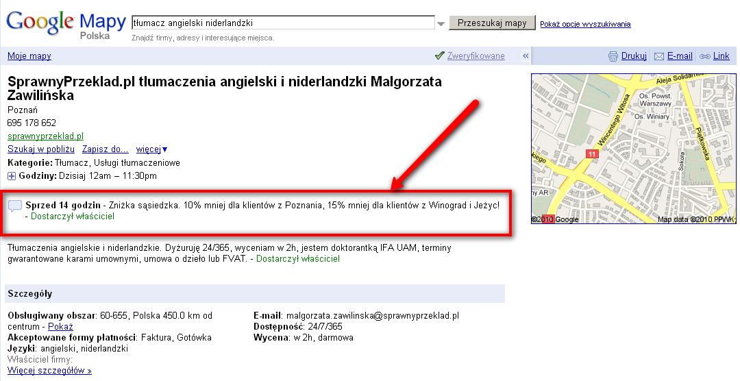 Miejsca Google - informacje 160 znaków frontend