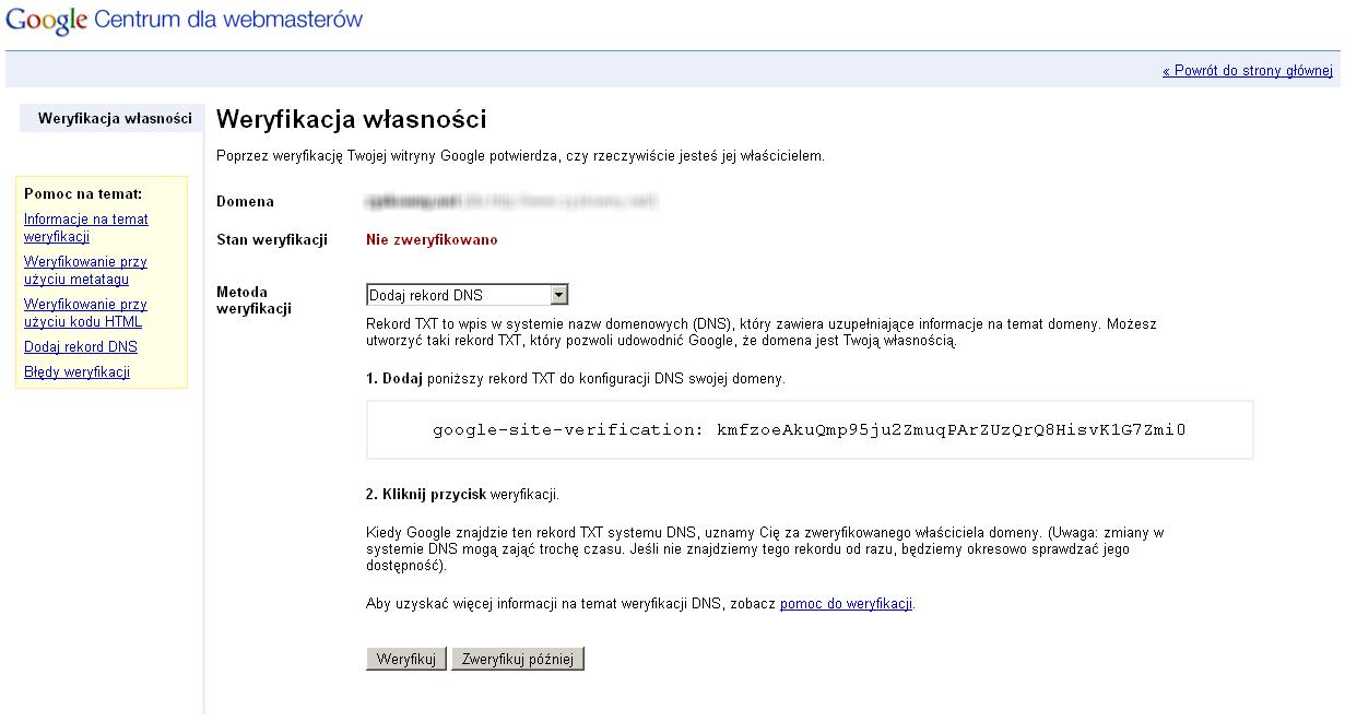 nowy sposób weryfikacji witryny w Narzędziach dla Webmasterów - widok szczegółowy