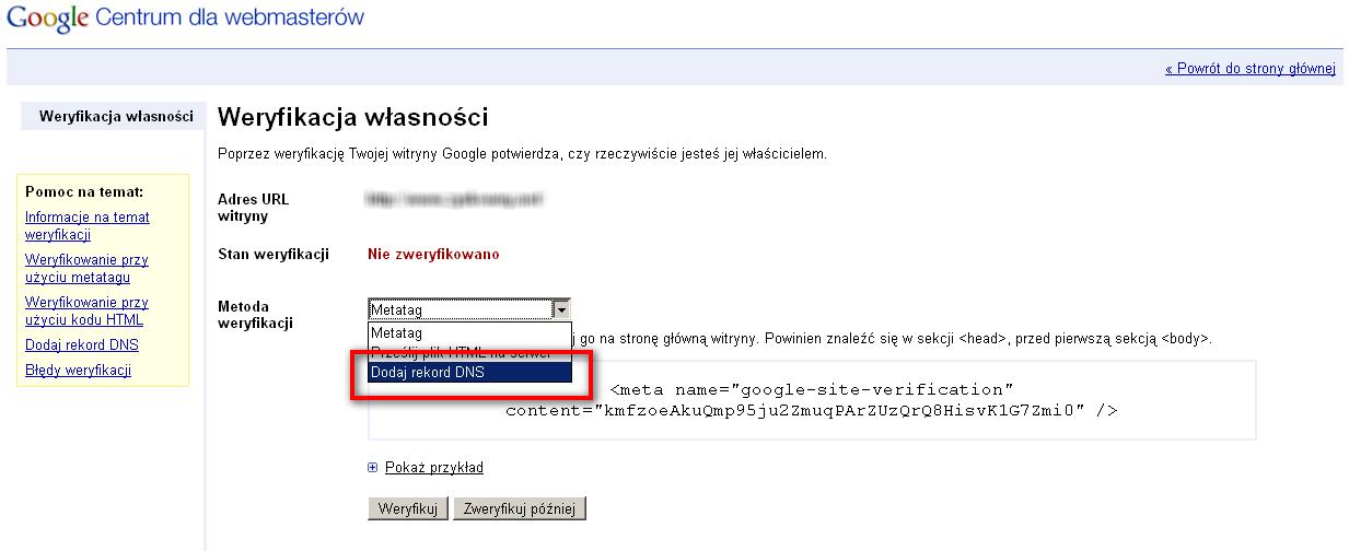 nowy sposób weryfikacji witryny w Narzędziach dla Webmasterów