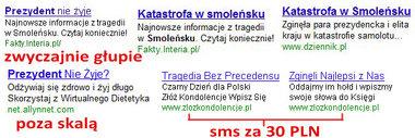 reklamy AdWords związane z katastrofą smoleńską - wg Olsa