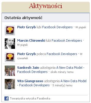 ostatnia aktywność wtyczka Facebook
