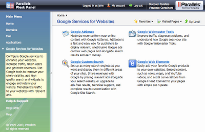 Plesk i wbudowane weń Google Services for Websites