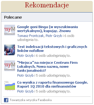 polecane wtyczka Facebook