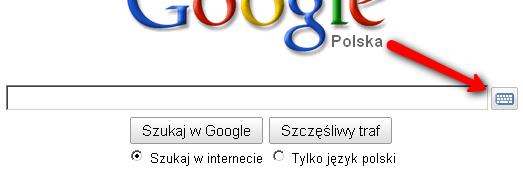 przycisk wirtualnej klawiatury główna strona Google