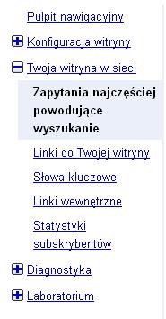 webmaster tools menu