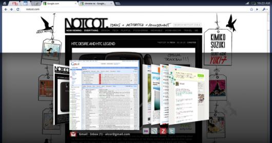 Chrome OS przełączanie okien/zakładek