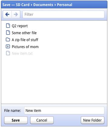 "Chrome OS - okno ""zapisz plik"""