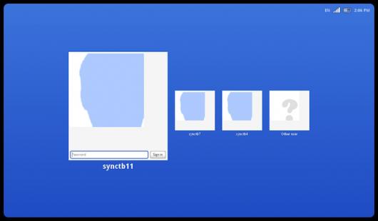 Chrome OS welcome screen