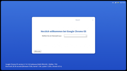 Chrome OS - welcome screen