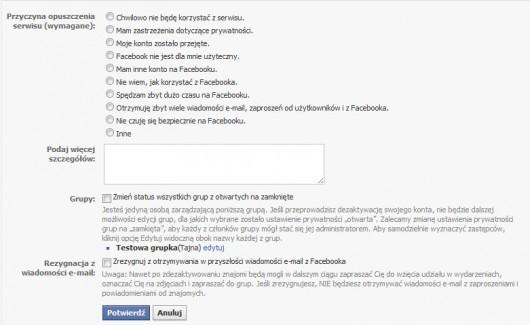 dlaczego dezaktywujesz konto na Facebooku?