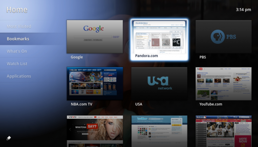 Google TV screen