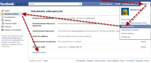 jak dezaktywowac konto na Facebooku