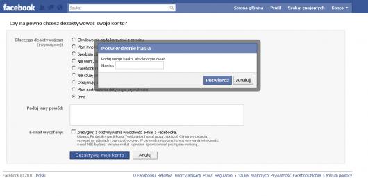 Czy napewno chcesz zdezaktywować konto naFacebooku? Wprowadź hasło