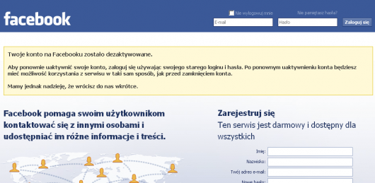 Jak zdezaktywować konto na Facebooku - potwierdzenie dezaktywacji