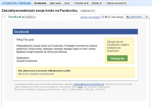 Jak zdezaktywować konto naFacebooku - mailowe potwierdzenie dezaktywacji