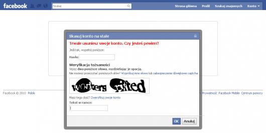 Jak usunąć konto naFacebooku - potwierdzenie - wpisz hasło iprzepisz kod zobrazka