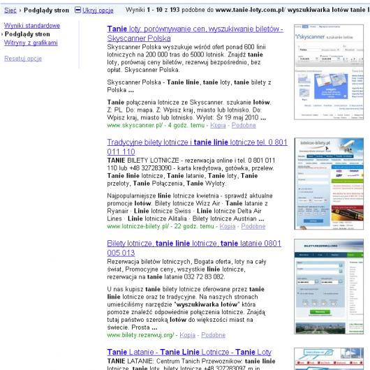 lista podobnych witryn - podglądy